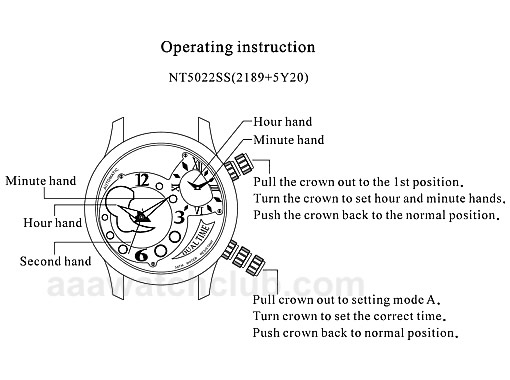 Dual Time Zone Automatic Watch Manual NT5022SS